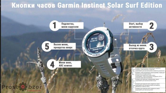 Кнопки управления часами Garmin Instinct Solar