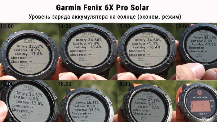 Режим работы часов Fenix 6X Pro Solar в эконом режиме Умных часов - зарядка от солнца