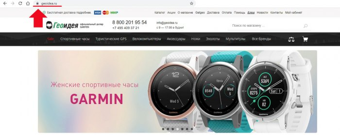 шаг 1 - выбор сайта для покупки часов Garmin - geoidea