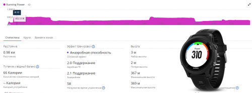 дата-поле Running power для часов Garmin