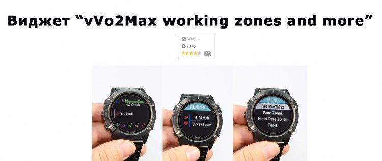 Как работает виджет vVo2Max working zones and more для часов Garmin