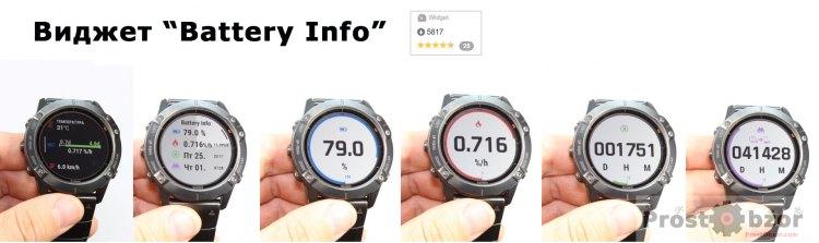 Внешний вид виджета  battery info для часов Garmin