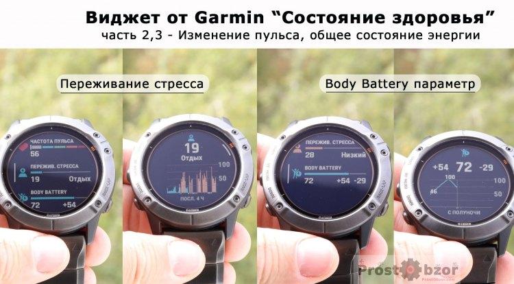 Виджет Garmin состояние здоровья - пульс, измерение стресса, body battery