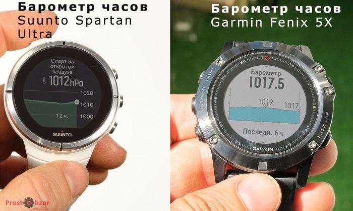 Барометр в часах Suunto Spartan Ultra и Garmin Fenix 5X