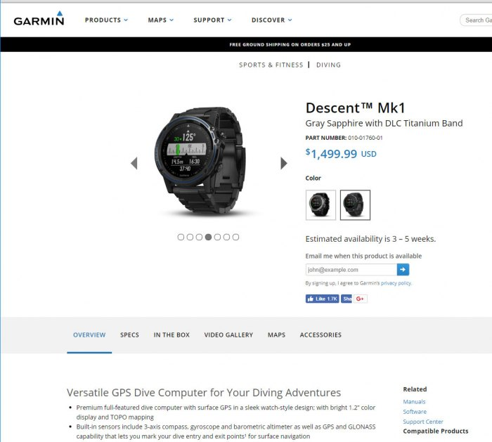 Часы для глубоководных погружений и дайвинга Garmin Descent MK1