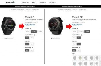 Цены на часы серии Garmin Fenix 5, 5X