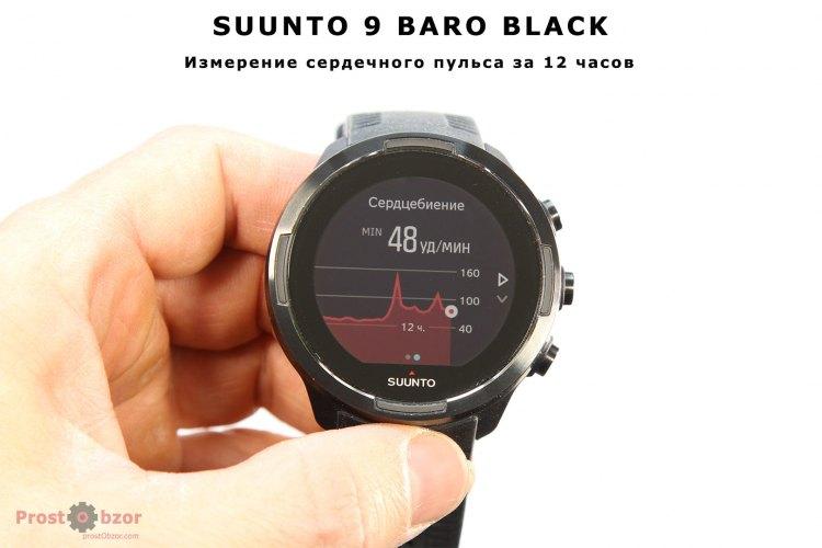 Suunto 9 Baro - Измерения сердечного пульса за 12 часов