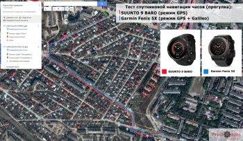 Тест GPS - SUUNTO 9 vs Garmin Fenix 5X - прогулка по городу