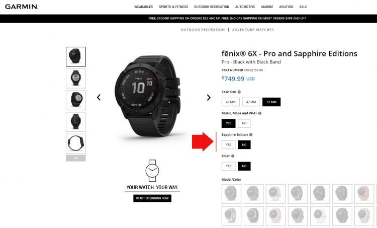 Выбор типа стекла при покупке часов Garmin Fenix 6X
