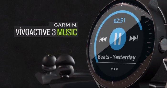 Музыка в наушниках с часов  Garmin Vivoactive 3 Music