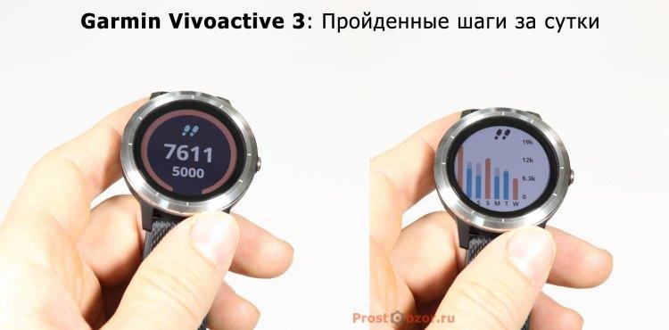 Статистика шагов в часах Garmin Vivoactive 3