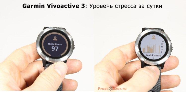 Измерение уровня стресса в часах Garmin Vivoactive 3