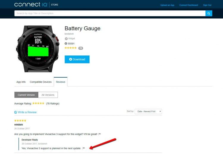 Планируемая поддержка Vivoactive 3 для виджета Battery Gauge