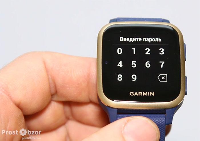 Ввод пароля в часах Garmin для Garmin Pay